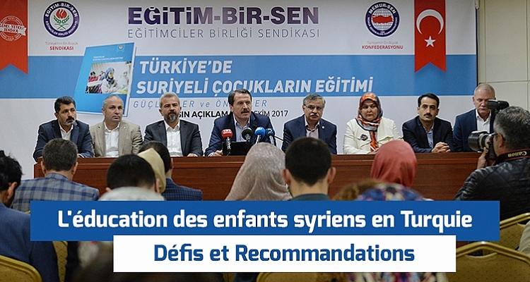 L`éducation des enfants syriens en Turquie: Défis et recommandation